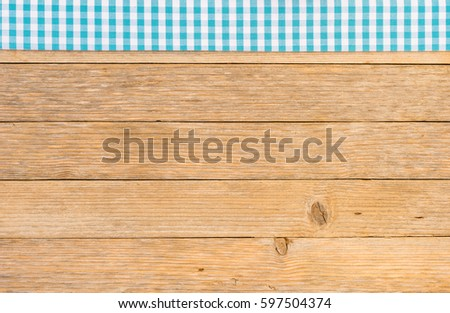 Table Cloth Blue Checked Pattern On Wooden Table Background, Top View, Copy  Space.