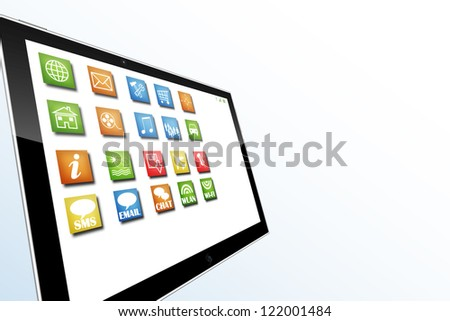 Table computer illustration with apps on screen and space for text - stock photo