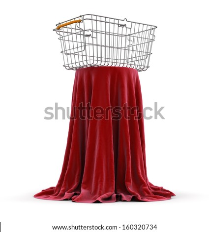 Table covered cloth with Shopping Basket (clipping path included) - stock photo