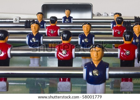 Table football or soccer, with blue and red players