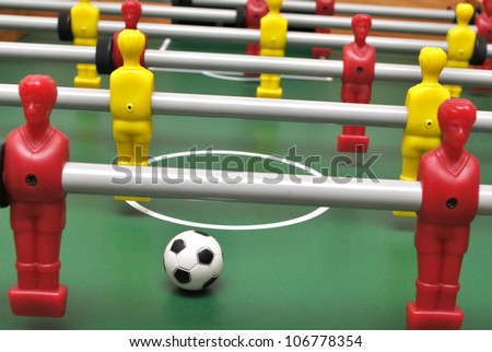 Table football soccer game with ball - stock photo