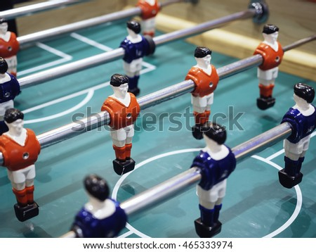 Table football Soccer game with Red and Blue players Team