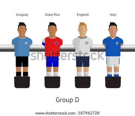 Table football, soccer players. Group D - Uruguay, Costa Rica, England, Italy. See also vector version. - stock photo