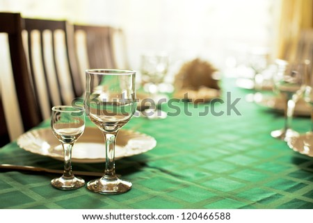 Table for a lot  person - stock photo