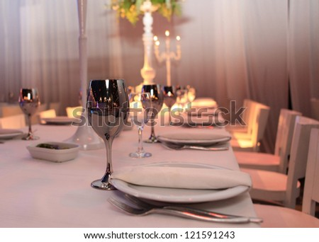 table for guests at the restaurant for parties