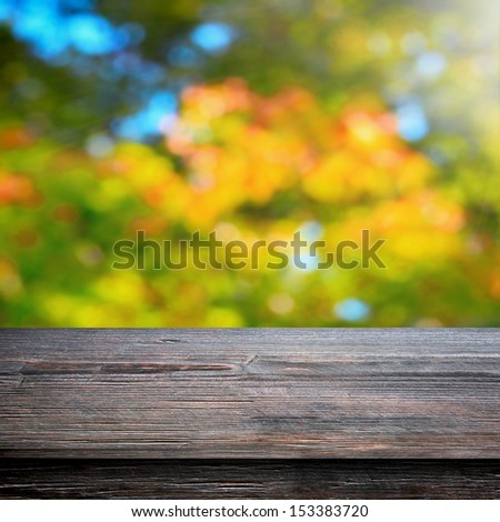 Table for picnic and natural autumn background - stock photo
