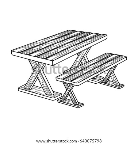 Table for rest.BBQ single icon in outline style bitmap,raster symbol stock illustration web.