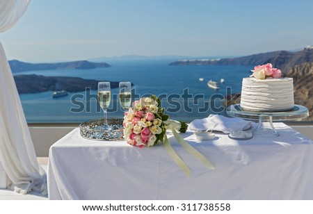 Table for the wedding ceremony. Greece, island of Santorini