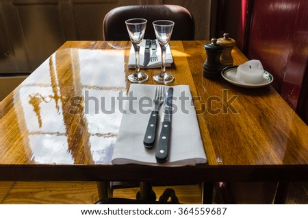 Table for two in little restaurant