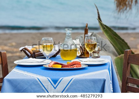 Table for two in the restaurant on the beach