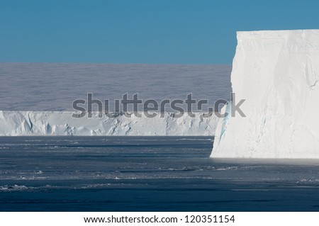 Table iceberg edge in Antarctica - stock photo