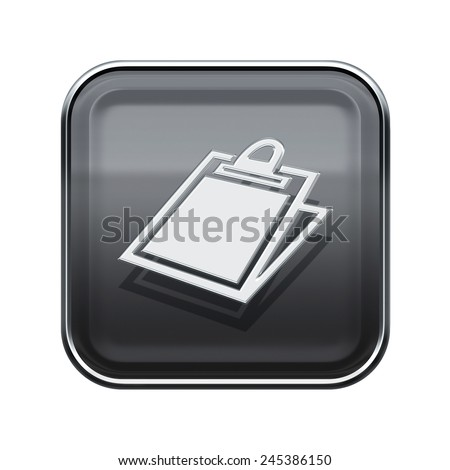 Table icon glossy grey, isolated on white background - stock photo