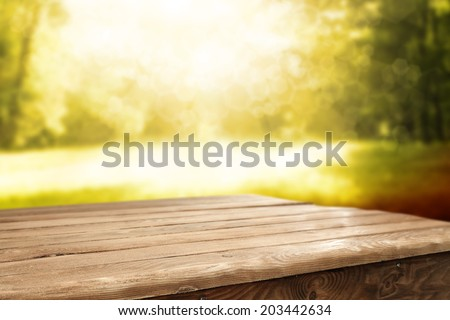 table in garden and summer sun with forest  - stock photo