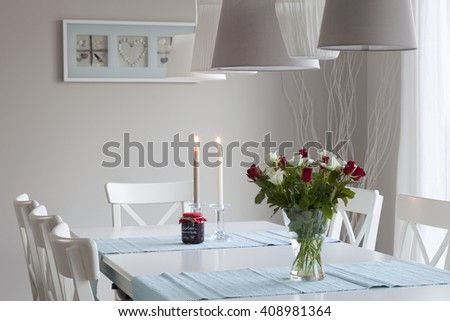 table in the dining room - stock photo