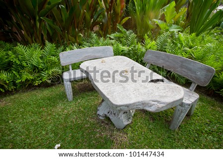 Table in the garden.