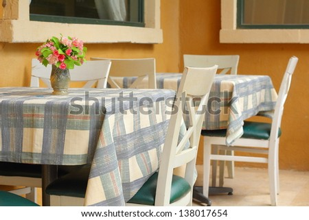 Table in the house. - vintage style - stock photo