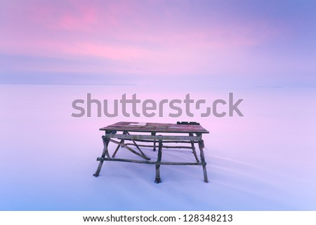 table in the snow