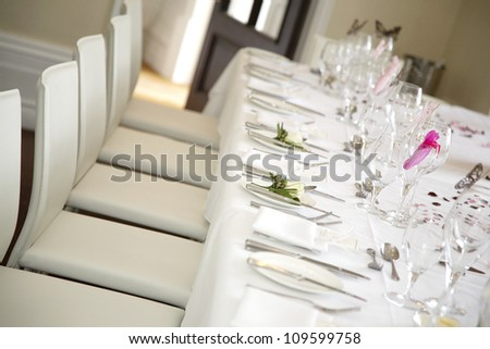 Table is set for the bride and groom - stock photo