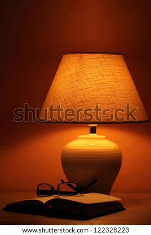 table lamp on brown background