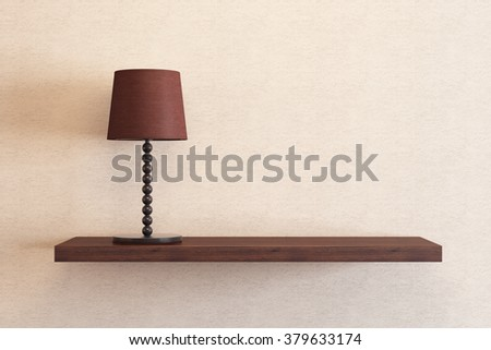table lamp on the shelf - stock photo