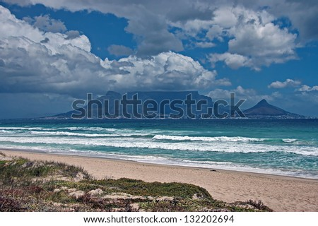 Table mountain and Cape Town from distant. South Africa. - stock photo