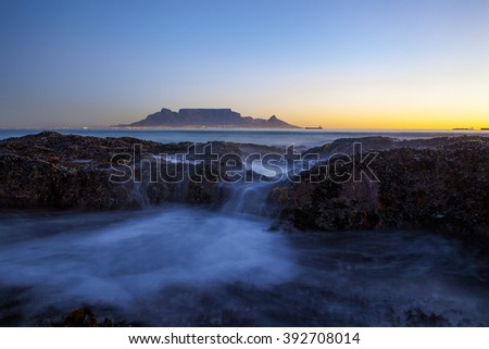 Table Mountain, as seen from Bloubergstrand, Cape Town, South Africa - stock photo