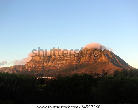 Table mountain at sunrise - stock photo