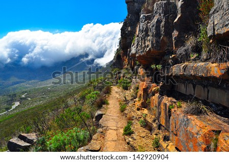 Table Mountain Cape Town Hiking Trail - stock photo