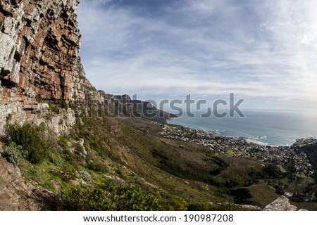 Table Mountain National Park, located on the Cape of Good Hope peninsula, is one of the most visited National Parks in Africa. Part of the park overlooks Cape Town and surrounding communities. - stock photo