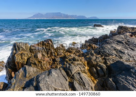 Table mountain on the horizon in South Africa - stock photo