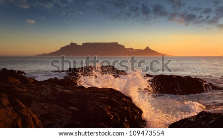 Table Mountain, sunset, Cape Town - stock photo
