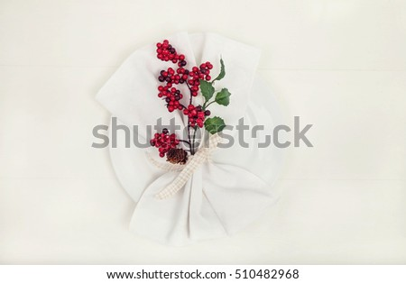 Table napkin with christmas decoration