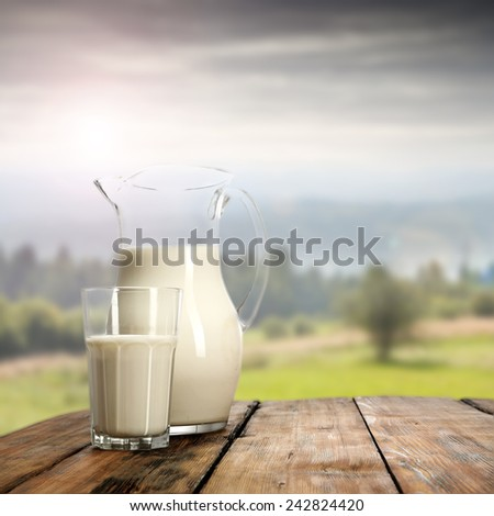 table of milk  - stock photo