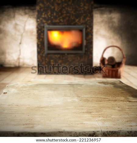 table of stone and fireplace