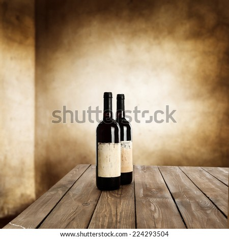 table of wine and wall  - stock photo