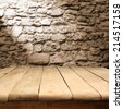 table of wood and stone place  - stock photo