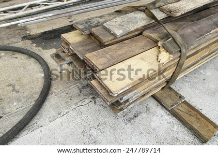 table of wood in a shipyard