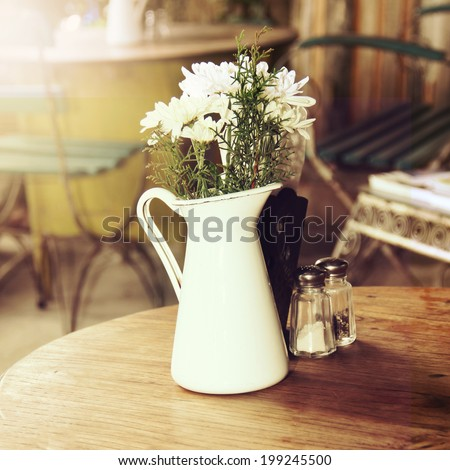 Table on cafe background. vintage style