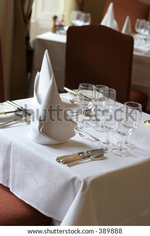 Table Place at expensive restaurant