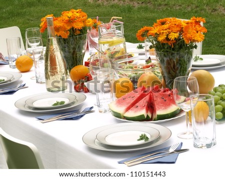 Table ready for party in a garden