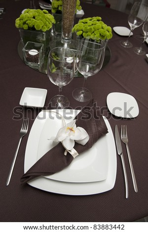 Table ready for wedding time - stock photo