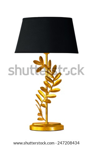 Table red lamp on white with clipping paths included - stock photo