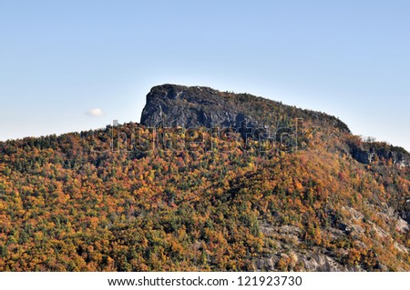 Table Rock Mountain in Autumn Linville Gorge Area NC Horizontal With Copy Space - stock photo