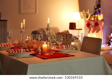 Table Served For Christmas Dinner In Living Room Close Up View