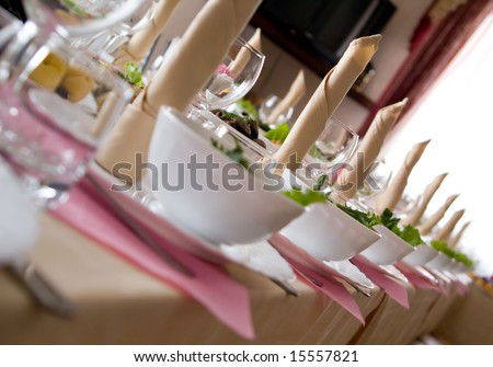 Table set for a dinner - stock photo
