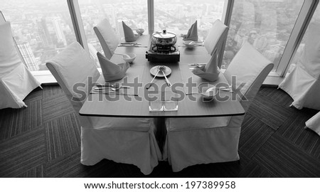 Table set for a elegant dinner , black and white. - stock photo