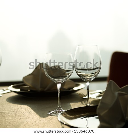 Table set for an elegant dinner. - stock photo