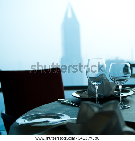 Table set for an elegant dinner. - stock photo
