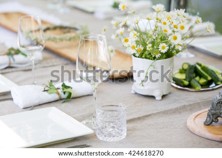 Table set for an event party or wedding - stock photo