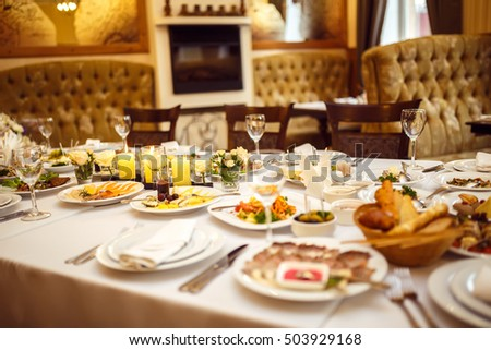 Table set for an event party or wedding reception.